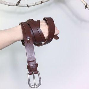 True vintage dark brown unique leather belt